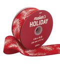 Maker\u0027s Holiday Christmas Ribbon 1.5\u0027\u0027x30\u0027-Pine Branches on Red