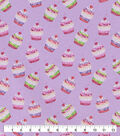 Snuggle Flannel Fabric-Tossed Cupcakes Purple