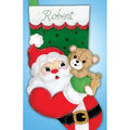 Applique Felt Stocking Kit-Santa & Teddy