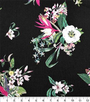 Crinkle Rayon Silky Fabric-Black & Multi Jumbo Paradise Floral