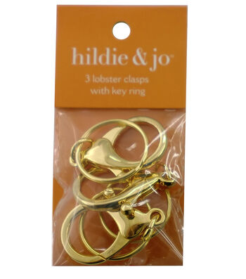 hildie & jo 3 Pack Lobster Clasps with Rings-Gold