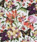 Knit Apparel Fabric 57\u0022-White Multi Butterfly Garden