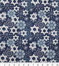 Hanukkah Cotton Fabric-Star Of David & Snowflakes