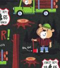 Snuggle Flannel Fabric -Lumberjack Bear