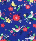 Doodles Collection Interlock Fabric-Bird Garden Blue