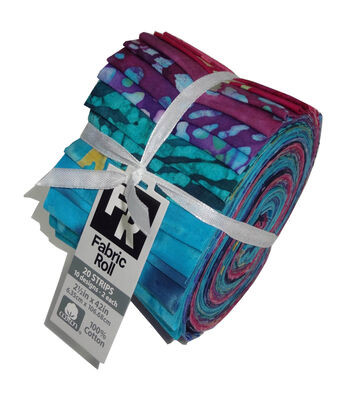 Jelly Roll Cotton Batik Fabric 20 Strips 2.5''-Tie Dye