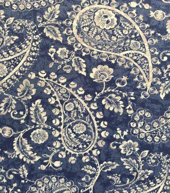 Knit Fabric 57''-Medium Paisley on Blue & White Cracked