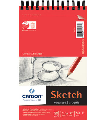 "Proart-Canson Foundation Sketch Pad Wire Bound 5.5""X8.5"" 50 Pages"