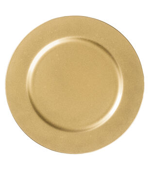 """Hudson 43 Candle & Light Collection 13"""" Decorative Plate-Gold"""