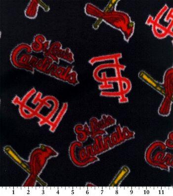 St. Louis Cardinals Fleece Fabric 58''-Tossed Print