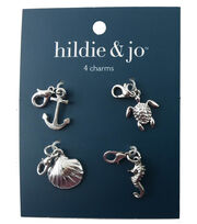 hildie & jo 4 Pack 0.63''x0.63'' Nautical Silver Charms, , hi-res
