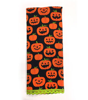 Maker's Halloween 16''x28'' Towel-Pumpkin Jack-o'-lantern Patch