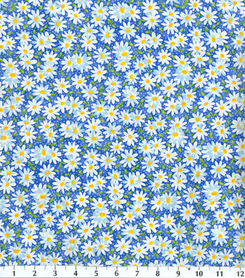 Keepsake Calico Cotton Fabric -Blue Packed Daisy