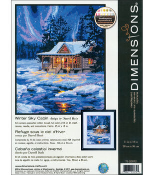 """Winter Sky Cabin Needlepoint Kit-11""""X14"""" Stitched In Thread"""
