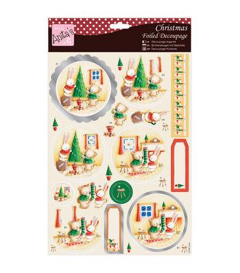 Anita's A4 Foiled Decoupage Sheet-Rabbit & Bear Christmas