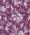 Vintage Cotton Fabric 43\u0022-Bird Floral Tonal Purple