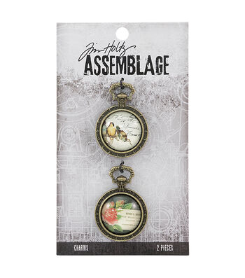 Tim Holtz Assemblage 2 Pack 1.5'' Collage Dome Charms