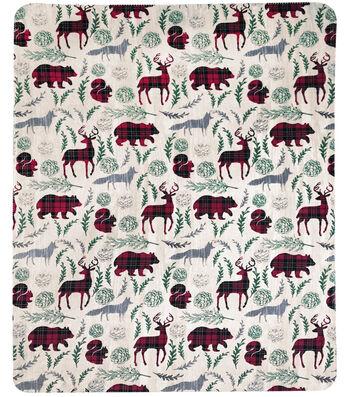Christmas No Sew Fleece Throw 72''-Buffalo Check Animals