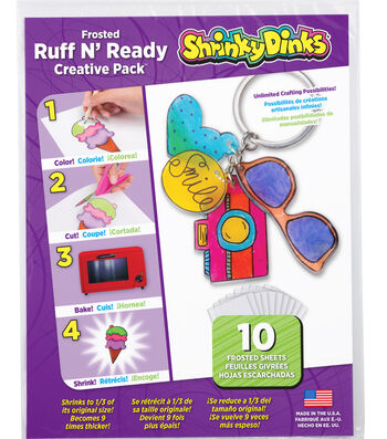 Shrinky Dinks 8''x10'' Frosted Ruff N' Ready Sheet Creative Pack