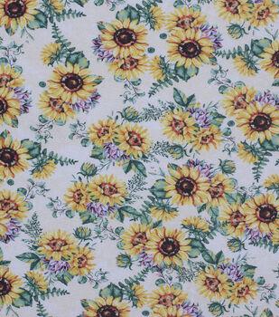 Harvest Cotton Fabric-Large Autumn Sunflowers