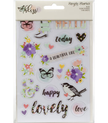Simple Stories Bliss 3 pk 4''x6'' Clear Sticker Sheets