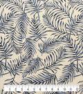 Coastal Lagoon Cotton Lyocell Apparel Fabric-Tropical Leaves on White