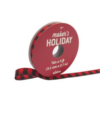 """Maker's Holiday Buffalo Check Ribbon 3/8""""x9'-Red Black Check"""