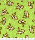 Novelty Cotton Fabric 43\u0022-Laughing Monkey on Green