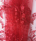 Sew Sweet Mesh Fabric-Tango Red Embellished