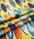Doodles Juvenile Apparel Fabric 43\u0027\u0027-Surfs Up Pucker on Yellow