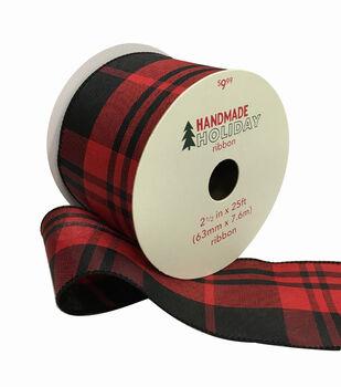 Handmade Holiday Christmas Ribbon 2.5''x25'-Red & Black Plaid