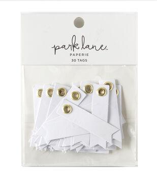 Park Lane 30 pk Eyelet Banner Label Tags-Gold & White