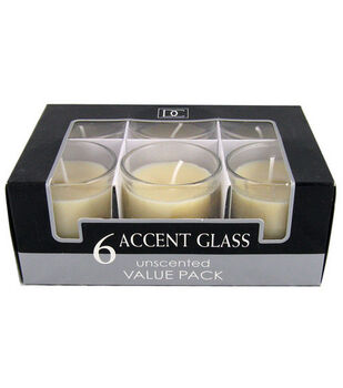 Hudson 43 Candle & Light Collection 6pk Unscented Glass Accent Candles-Ivory