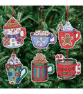 Cocoa Mug Ornaments Counted Cross Stitch Kit-3-1/2\u0022X3-1/2\u0022 14 Count Set Of 6
