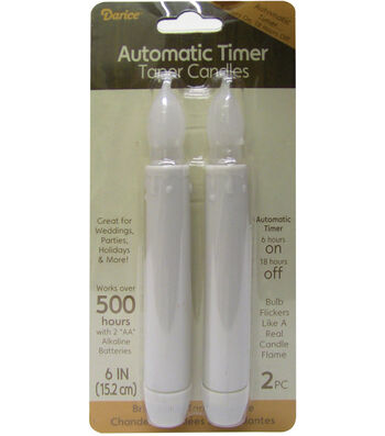 "Battery Operated LED Taper Candles w/Timer 6""-White"