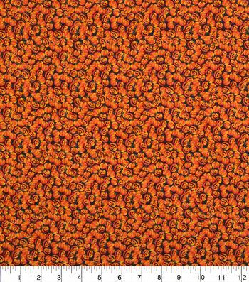 "Halloween Cotton Fabric 43""-Packed Pumpkins Allover"