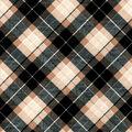Snuggle Flannel Fabric-Black & Tan Bias Plaid