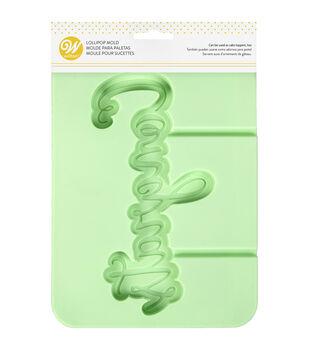 Wilton 6.34''x8.57'' Silicone Lollipop Mold-Mint Congrats