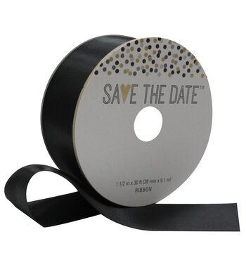 Save the Date 1.5'' X 30' Ribbon-Black Satin