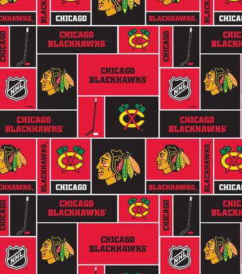 Chicago Blackhawks Fleece Fabric 60''-Block