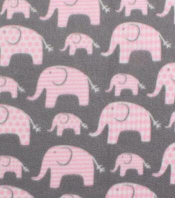 Blizzard Fleece Fabric 59''-Elephants with Pink Geometrics