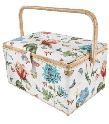 Sewing Basket XL Rectangle-Cream Botannical