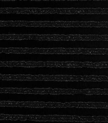 Sew Sweet Ribbon Ruffled Velvet Fabric-Black