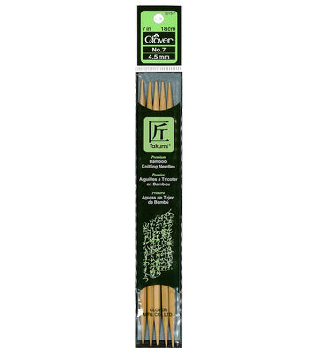 """Clover Bamboo Double Point Knitting Needles 7""""-Size 7"""