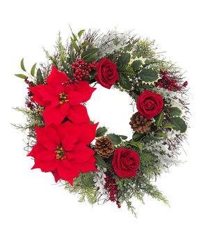 Handmade Holiday Christmas Poinsettia, Rose, Berry & Pinecone Wreath