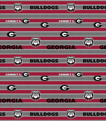 College Teams Georgia Bulldogs Cotton Fabric -Polo Stripe