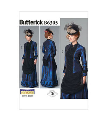 Butterick Pattern B6305-Misses' Costume-Victorian Top and Drape-Front Skirt