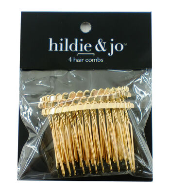 hildie & jo 4 pk Wire Hair Combs-Gold