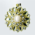 Blue Moon Beads Pendant Starburst Clear Rhinestone W Gold