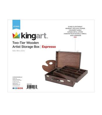 KINGART Artist Wooden Storage Box - 2 Tier-Espresso